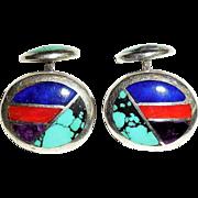 Sterling Silver Mosaic Gemstone Cufflinks Amethyst Lapis Turquoise