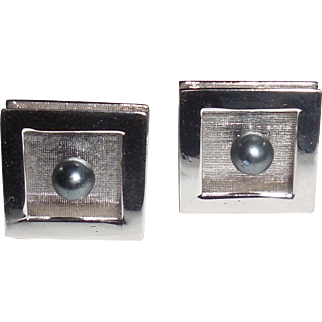 Vintage Sterling Silver Pearl Mens Swivel Cufflinks