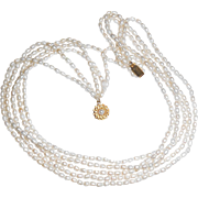 Natural Fresh Cultured 4mm White 5 Strand Pearls Necklace