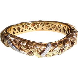 Stephen Dweck .33 CT Diamond Hinged Cuff Bangle Bracelet Gold Sterling Silver