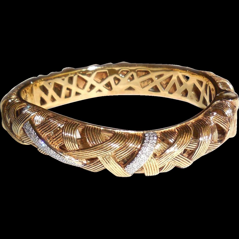 Stephen Dweck 33 Ct Diamond Hinged Cuff Bangle Bracelet