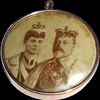 Antique 1902 Edwardian King Edward VII Coronation Gold Filled Pendant Fob