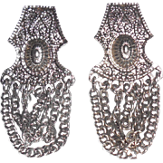 Vintage Egyptian Revival Silver Chain Wrap Hinged Screw Earrings Large