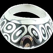 Italian Flli Menegatti Sterling Silver Black Enamel Ovals Ring XL 9