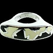 Flli Menegatti Sterling Silver Italy Large Abstract Modern Art Enamel Ring 7
