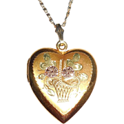 Vintage Gold Filled Sterling Silver Heart Photo Locket Necklace Fancy Flower Basket