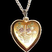 Vintage Gold Filled Sterling Silver Heart Photo Locket Necklace Fancy Flower Basket