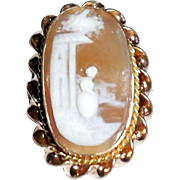 Antique Victorian Gold Filled Carved Shell Cameo Lingerie Dress Pin