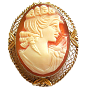 Vintage Van Dell 12K Gold Filled Shell Cameo Pendant Pin