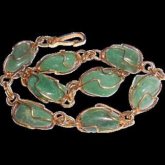 Vintage Green Chalcedony Chrysoprase Chunks Bracelet Size M