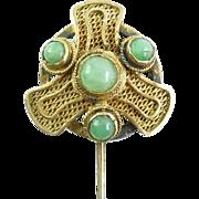 Antique Chinese Silver Gold Gilt Jade Stickpin Stick Pin