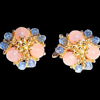 Mint Vintage Signed Judith McMann Molded Glass Wingback Earrings Unused