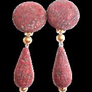 1980s Couture Les Bernard Brown Red Brick Door Knocker Shoulder Duster Earrings Doorknocker