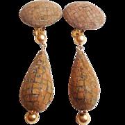 1980s Couture Les Bernard Medium Brown Door Knocker Shoulder Earrings Doorknocker