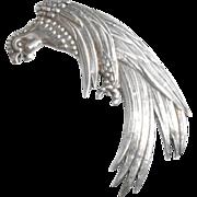Vintage Art Deco Los Castillo Mexican Sterling Silver Parrot Coat Fur Clip Pin