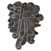 Large Vintage Mid Century Mexican Sterling Silver Stone Inlay Face Pin