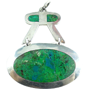 Large Vintage Mexican Sterling Silver Azurite Malachite 50mm Pendant