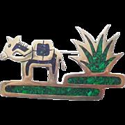 Mexican Sterling Silver Mosaic Lapis Malachite Donkey Pin X Large