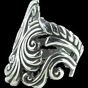 Alfredo Villasana Mexican Sterling Silver Wide Open Cuff Bypass Bracelet Vintage