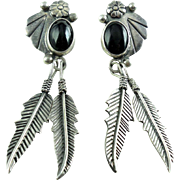 Vintage SW Mexican Sterling Silver Shoulder Duster Onyx Dangle Earrings
