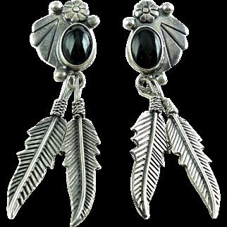 Vintage SW Mexican Sterling Silver Shoulder Duster Onyx Dangle Earrings
