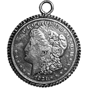 Art Deco 1921 Morgan 900 Silver Dollar Coin Sterling Silver Pendant