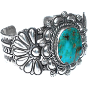 NA Jane McRory Big Sterling Silver Turquoise Open Cuff Bracelet  JMc Navajo