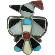 Large Native American Zuni Sterling Silver Mosaic Thunderbird Ring 6.25