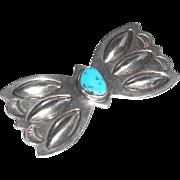 Large Diestruck Navajo Southwestern Sterling Silver Turquoise Butterfly Pin