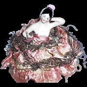1930s Art Deco Sewing Pincushion Porcelain Half Doll