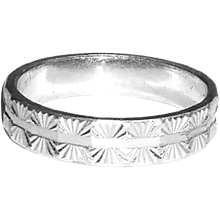 Vintage Asian Platinum Fancy Cut Cigar Band Ring Eternity 5.5