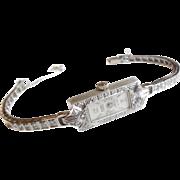 Art Deco Platinum Diamond 14k Gold Bracelet Watch Wristwatch S