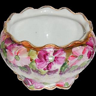 Vintage Porcelain Rose Purple Pink Flower Bowl Violets Petunias