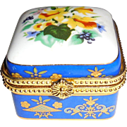 Vintage Hand Painted Enameled Porcelain Ormolu Trinket Box Jewelry Casket Vanity