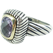 Sterling Silver 18k Gold Flli Menegatti Amethyst Cable Ring Size 8