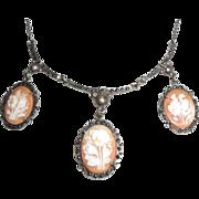 Vintage Art Deco Sterling Silver Marcasite Carved Shell Cameo Festoon Bib Necklace