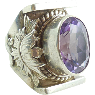 XL Vintage Chunky Handmade Sterling Silver 17m Amethyst Ring Size 9 Mens Womens