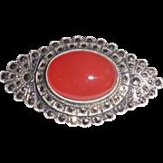 Vintage Art Deco Sterling Silver Marcasites Carnelian Pin