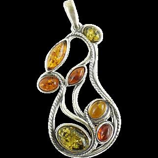Sterling Silver Amber Pendant Multi Green Yellow Honey