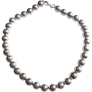 Large 12mm Vintage Sterling Silver Beaded Collar Necklace 68.3gr