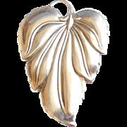 Large Vintage Mid Century Danecraft Sterling Silver Leaf Pendant Pin