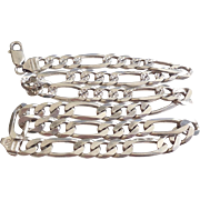 Italian Sterling Silver Fancy Figaro 2 Sided Chain Necklace Mens Womens 925 Italy