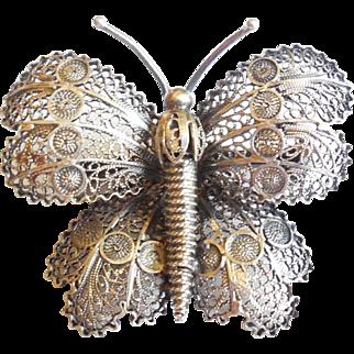 Vintage Early Mid Century Fancy Filigree Sterling Silver Butterfly Pin