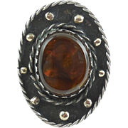 Mens Womens Large Sterling Silver Fire Agate Ring Southwestern Native American