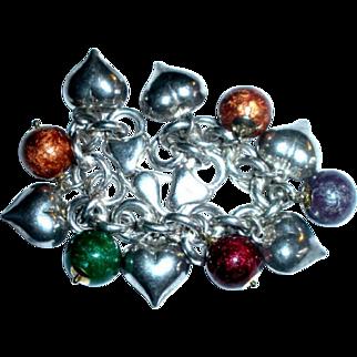 Chunky Sterling Silver Heart Italian Murano Art Glass 11 Charm Bracelet