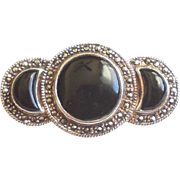 Chunky 1980s Vintage BOMA Sterling Silver Marcasite Onyx Cabs Pin