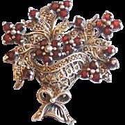 Vintage Sterling Silver Garnet Marcasite Flower Basket Pin