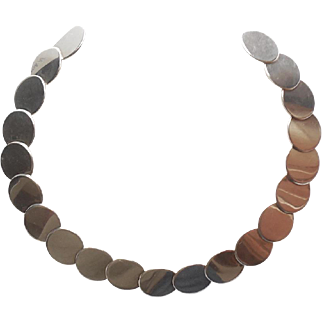 Vintage Mid Century Modern Sterling Silver Collar Necklace Adjustable