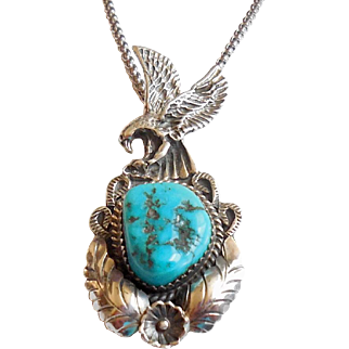 Native American Artie Yellowhorse Sterling Silver Turquoise Pendant Necklace