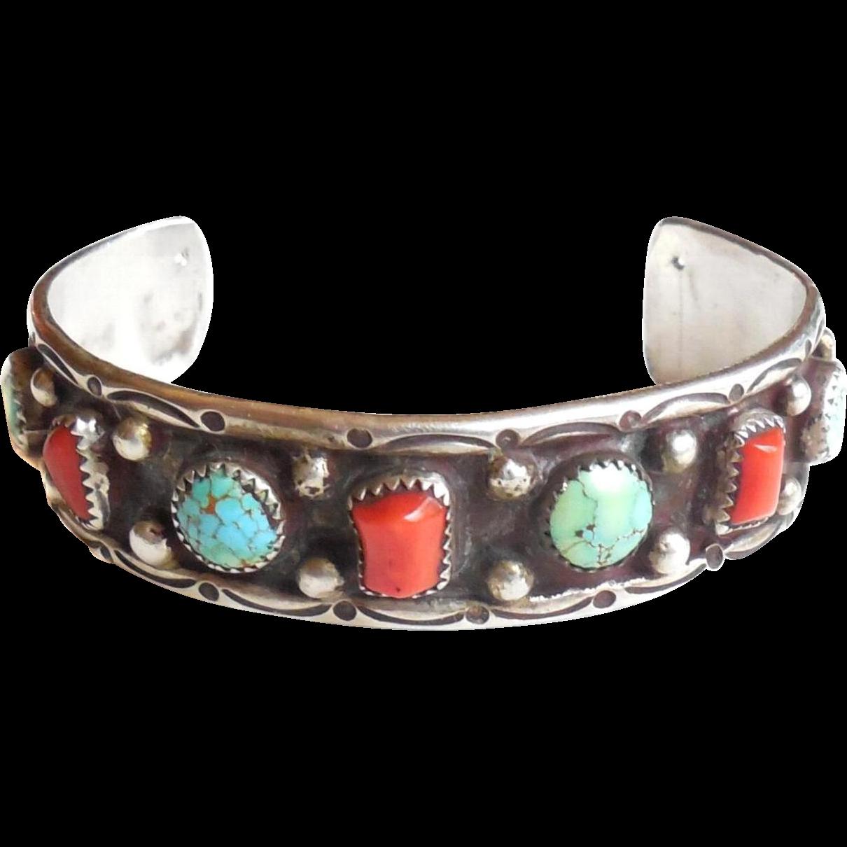 Native american navajo sterling silver turquoise cuff for Sterling silver navajo jewelry